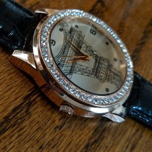 Eiffel tower watch with crystals